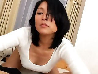 Cute Asian Sucks Big White Cock