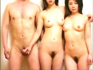 Two guys fondle horny asian babe sucking her tits