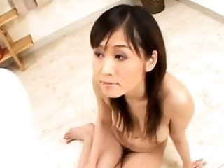 Naked oriental Moe Yoshikawa with huge tits gets pie licked