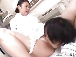 With a very hairy cunt between her thighs, nurse Akari is making this guy and us horny. She spreads those beautiful legs and moans while the man finge