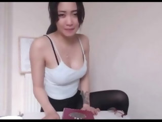 Asian girl in stockings fucks a neighbor