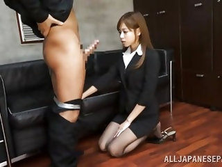 She gives her best at work and if that means to kneel and suck cock, then this cutie will do so, for the good of the company. Look at her, so sweet an