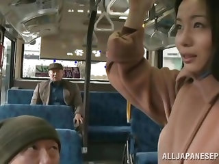 This dirty girl has no problem, letting creep on the bus play with her pussy. She lets a homeless guy finger her twat and then, wanks his cock in fron