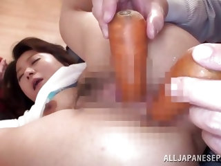 This Japanese slut has been a very bad girl, so her dominating husbang punish her. He puts her legs behind her head and spreads her hips wide. Then fi