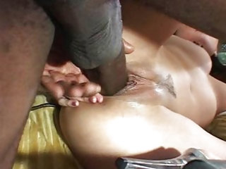 Asian chick with huge black cock
