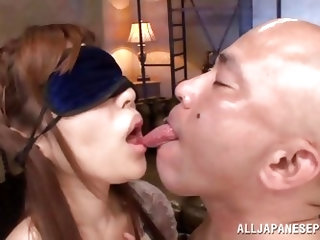 Slutty Rina has been blindfolded and doesn't know, who is the guy that so tenderly kisses her lips and ears, making her feel so aroused. The brow