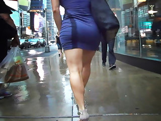 tight minidress sliding on strong legs