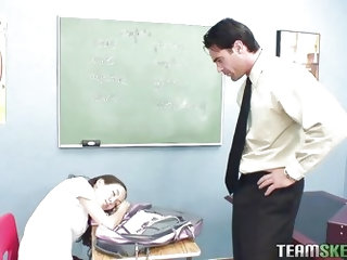 Dirty little whore Amai is napping in class and the teacher puts his dick in her mouth, while she is having a rest. When she wakes up, she sucks him o