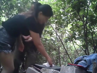 Nice Asian MILF Prostitute Bareback In The Forest