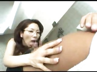 Japanese wife suck boss cock at work