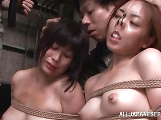 A military officer is out surveying the field when she is captured by enemies. They strip her naked and tie her with rope. She is thrown in prison and