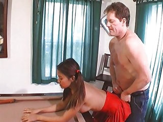 Dirty old man fucks a pigtailed Asian...