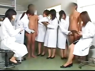Japanese Nurses Taking Sperm Sample In Hospital