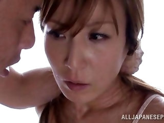 Because he caught her masturbating, this guy will give the hot mature lady Reiko, what she needs. It's a pity for such a hottie to rub her pussy,
