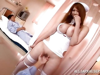 This nasty girl has a huge pair of tits and she knows, how to make her patients feel good. She looks super sexy, wearing her nursing outfit, which sho