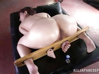 Hot Japanese cunt Marina may look innocent, but she is anything but. No one is feeling sorry, when she was tied down and drilled with a big dildo. It&