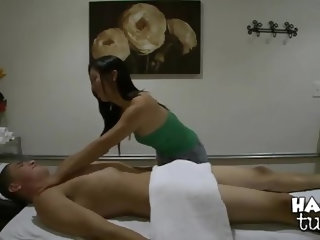 Tall young stud Bruce Venture with good looking body and long meaty sausage gets massaged and sucked good good by skilful long haired asian Celia with