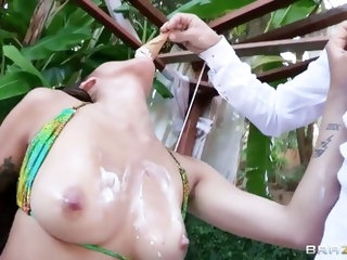 Long haired petite asian whore Jayden Lee with smoking hot slim body and pretty face gives head to experienced stud Bruce Venture and gets tight cunny
