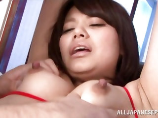 Miku is tied up like the slut she is. Her older boyfriend loves to dominate her. He is a real pervert. He licks her ears and armpit, which makes her u
