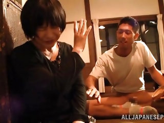 Take a look at this cute mature Japanese lady. she is playing coy, but after a nice talk she agrees to help her man cum. He lays back and she gives hi