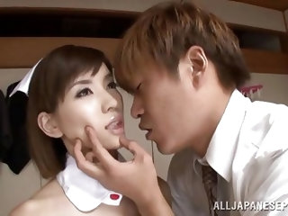 Yuria is motionless like a doll as her master explores her body and eats out her pussy. He has fun touching her skin in all the right places. Her skir