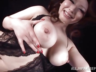 This busty babes name is Sayuki Kanno, she is a extremely hot Japanese slut, with huge boobs and perfect ass. Look at her, as she enjoys taunting us w