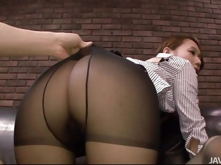 She looks good in those pantyhose doesn't she? You know she will look even better? With a big hard cock inside that hairy pussy. I rip this hot s