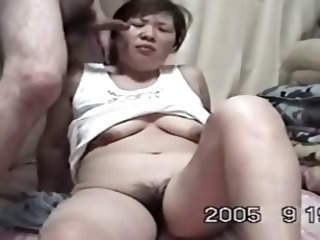 Cute plump 40something Oriental wife has large milk sacks hard nips and a curly moist cookie. Shes blindfolded sucks hubby receives fingered sucks gre