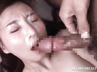 An exotic brunette milf wearing black fishnet stockings is entoured by horny cocks that use her awfully. Watch the Asian slutty bitch on knees taking