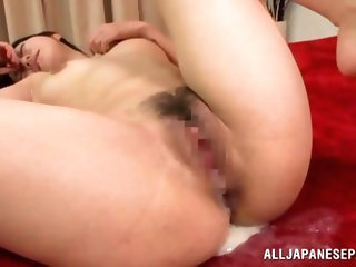 A deep hard fuck makes our Asian chick happy but it's a load of cum that really satisfies her. She's being pussy drilled by her man and he c