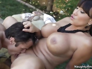 Alan Stafford spots his friends mother Ava Devine splashing naked in the pool. She sees him looking at her and calls to come closer. That is when all