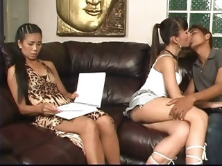 Two gorgeous asian trannies get fucked by one lucky skinny asian dude